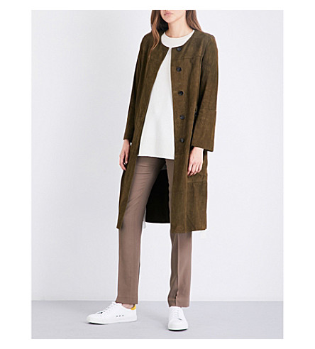 THEORY Alioth suede coat (Military