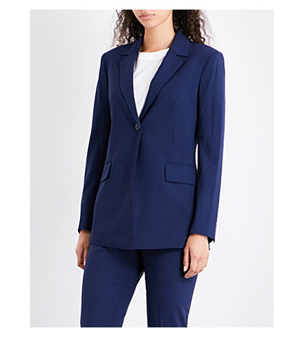 THEORY Sylvaine single-breasted wool-blend jacket (Sapphire+blue