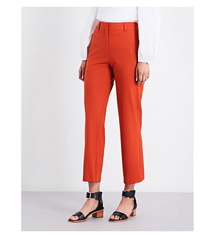 THEORY Thorelle slim-fit high-rise stretch-wool pants (Dark+marmalade