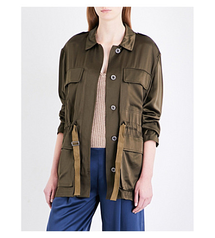 THEORY Thornwood silk-satin jacket (Vine+green