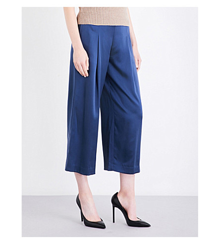 THEORY Zavabell wide-leg silk-satin pants (Dark+brisk