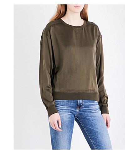 THEORY Massar silk-satin sweatshirt (Vine+green