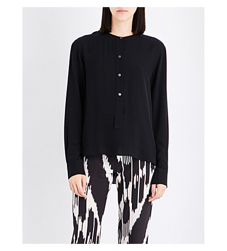 THEORY Isalva band-collar silk shirt (Black