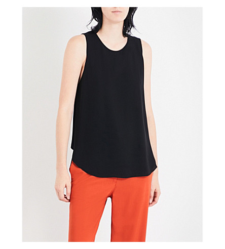 THEORY Zabetha silk top (Black