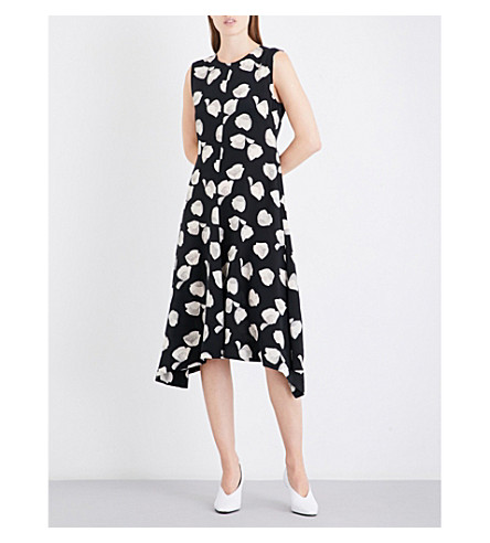 THEORY Nophella fit-and-flare silk-crepe dress (Black+ivory