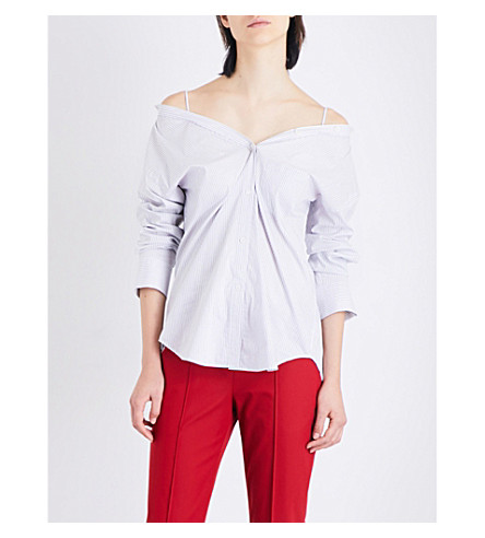 THEORY Tamalee striped poplin shirt (White+multi