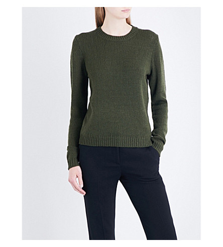 THEORY Yulia merino wool jumper (Dark+basil