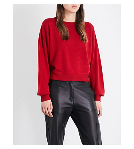 THEORY Verina silk and cashmere-blend jumper (Crimson+red