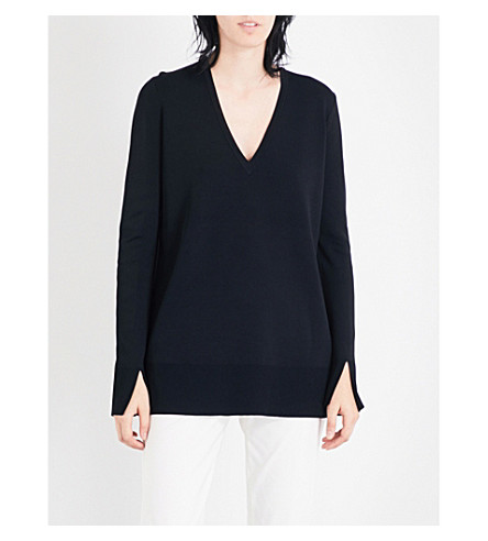 THEORY Britona V-neck knitted jumper (Black