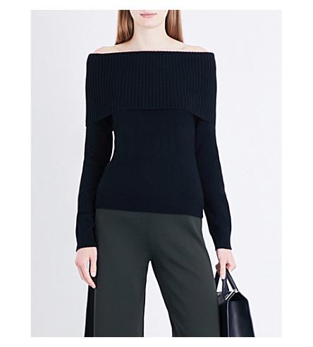 THEORY Aflina off-the-shoulder cashmere jumper (Black