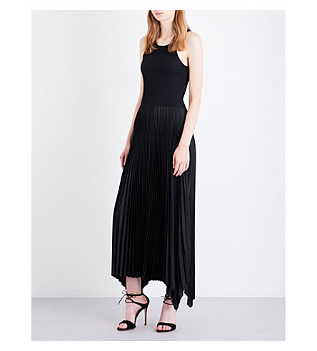 THEORY Vinessi ribbed-jersey and pleated satin midi dress (Black