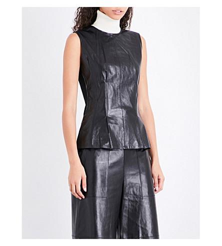 THEORY Sleeveless leather top (Black