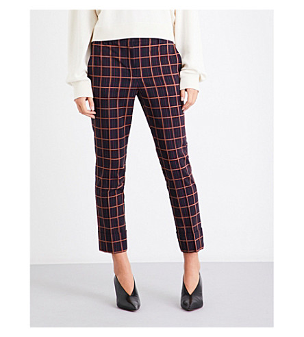 THEORY Checked slim-fit stretch-wool trousers (Purple+plaid