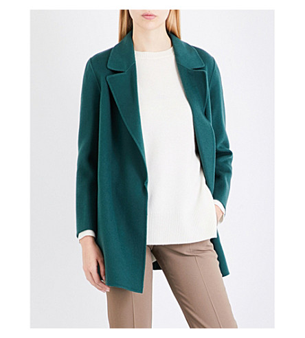 THEORY Clairene open-front wool and cashmere-blend jacket (Billiard