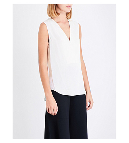 THEORY Crossover silk-crepe top (Ivory