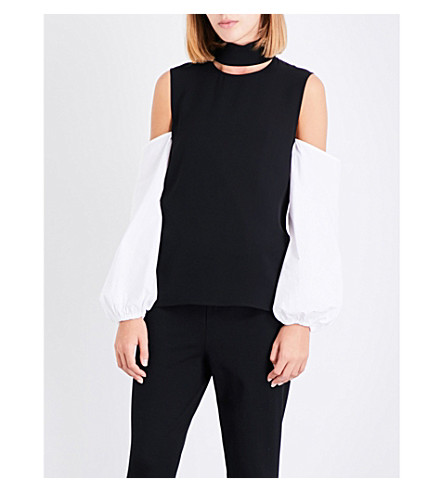 THEORY Slit collar silk-crepe top (Black