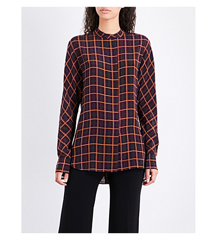 THEORY Perfect dolman checked silk shirt (Purple+multi