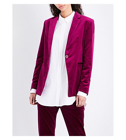 THEORY Single-breasted velvet jacket (Electric+pink