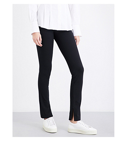 THEORY High-waisted cotton-blend leggings (Black