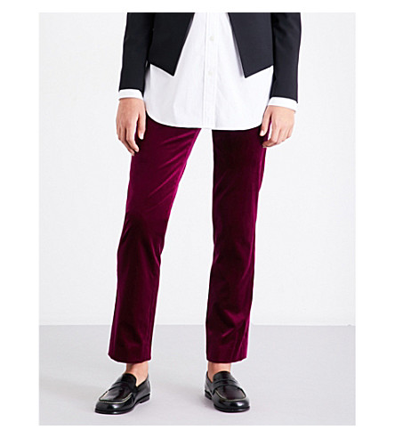THEORY Slim-fit velvet trousers (Electric+pink