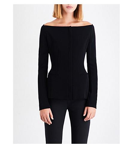 THEORY Off-the-shoulder stretch-gabardine jacket (Black
