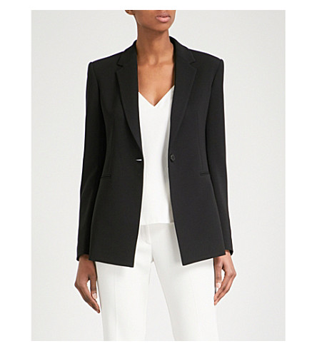 THEORY Power single-breasted crepe jacket (Black