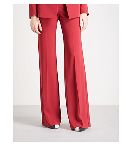 THEORY Demitria Admiral slim-fit flared crepe trousers (Bright raspberry
