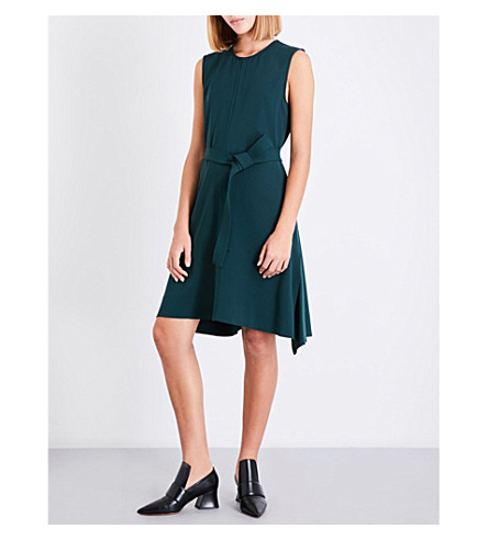 THEORY Belted peplum crepe dress (Dark+billiard