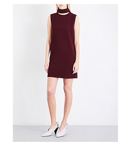 THEORY Slit-collar crepe dress (Dark+currant