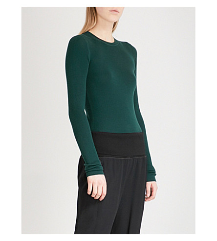 THEORY Mirzi ribbed-knit wool jumper (Emerald