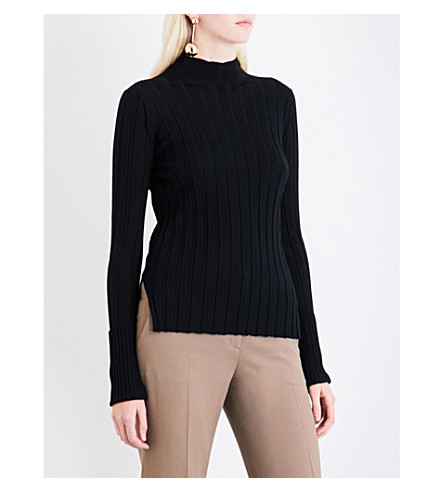 THEORY High neck ribbed-knit wool jumper (Black