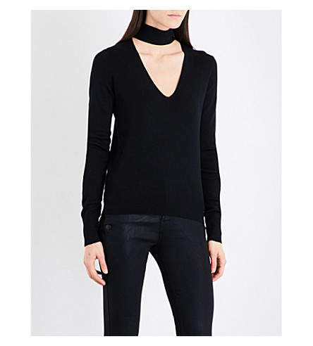 THEORY Tie V-neck silk-blend jumper (Black