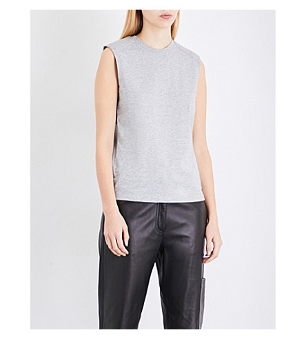 THEORY Power sleeveless cotton-jersey top (Light+heather+grey