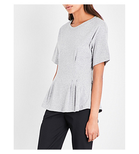 THEORY Round-neck cotton T-shirt (Light+heather+grey