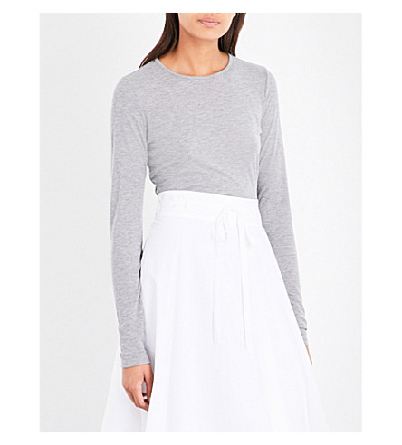THEORY Round-neck long-sleeved top (Heather+grey