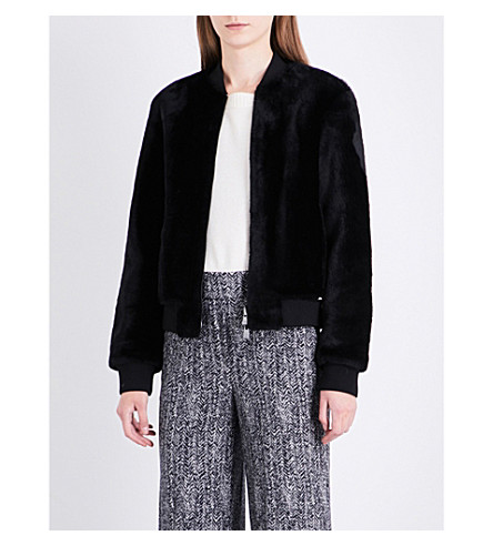 THEORY Stand-collar shearling bomber jacket (Black