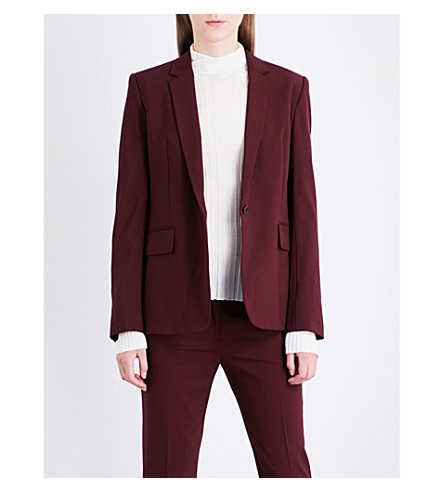 THEORY Single-breasted stretch-wool jacket (Dark+currant