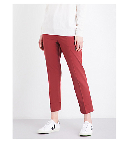 THEORY Cuffed straight mid-rise stretch-wool trousers (Cider+red
