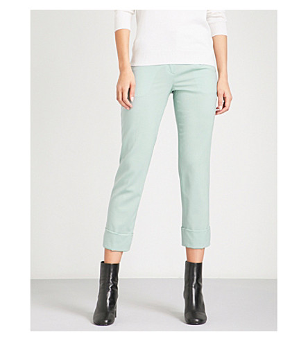 THEORY Cuffed straight mid-rise stretch-wool trousers (Winter green