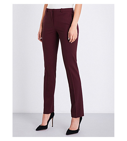 THEORY Hartsdale straight mid-rise stretch-wool trousers (Dark+currant
