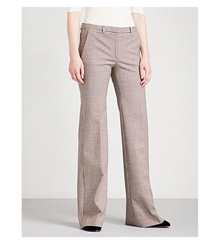 THEORY Demitria gingham flared stretch-wool trousers (Portland+multi
