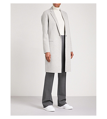 THEORY Essential single-breasted wool and cashmere-blend coat (Melange+grey