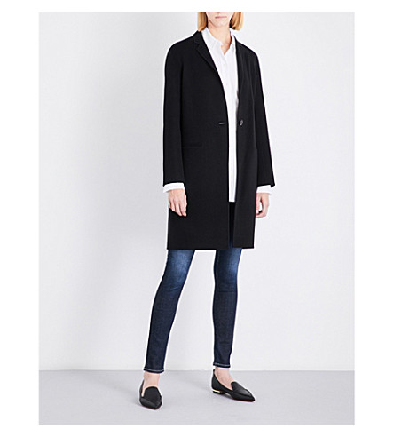 THEORY Essential single-breasted wool and cashmere-blend coat (Black