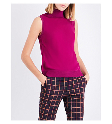 THEORY Turtleneck silk top (Electric+pink