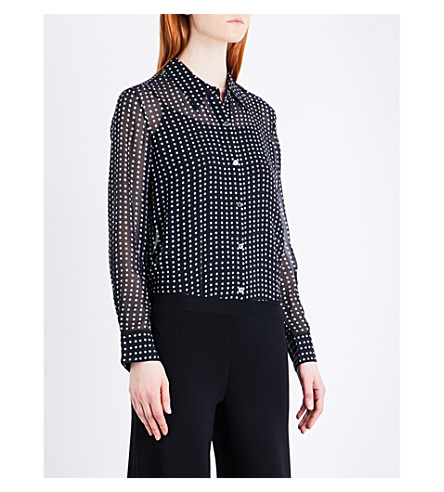 THEORY Sunaya polka dot-print silk-chiffon shirt (Deep+navy+multi