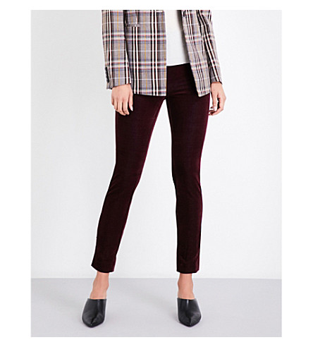 THEORY Navalane tapered velvet trousers (Dark+currant