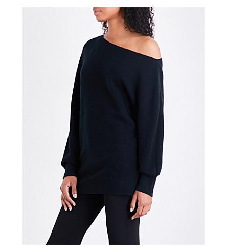 THEORY One-shoulder merino wool jumper (Black