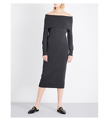 THEORY Off-the-shoulder wool jumper dress (Light+charcoal