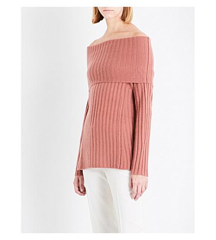 THEORY Off-the-shoulder cashmere jumper (Deep+rose