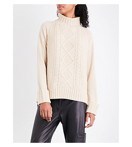 THEORY Waffle and cable-knit turtleneck wool jumper (Natural+oatmeal